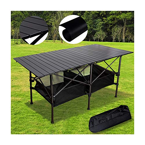 TOP Aluminum Camping Table,Easy Carry Picnic Folding Table with Storage Bag Heavy Duty RV BBQ Cooking Indoor Outdoor (Black XL)