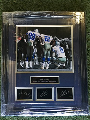 "Dallas Cowboys ""The Triplets"" Troy Aikman #8, Emmitt Smith #22, & Michael Irvin #88 Photo with Laser Etched Autograph Framed!"