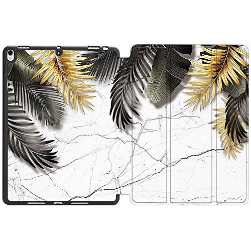 SDH Funda con soporte para lápiz Apple iPad Air de 10,5 pulgadas (3ª generación) 2019 / iPad Pro de 10,5 pulgadas 2017, funda protectora de TPU con función de apagado automático,hermosas hojas 1