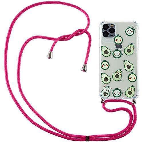 Nadoli Handykette Hülle für iPhone 12 Mini,Weich Handyhülle mit Kordel zum Umhängen Necklace Cover mit Band Schutzhülle Halsband Case mit Umhängeband,Avocado