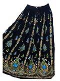 Dancers World Ltd - Falda de verano para danza del vientre, bohemia, gitana, hippie, para verano, para bailar, Verano Sundress & Belly Dancing, gráfico, Mujer, color Verde Negro, tamaño 40