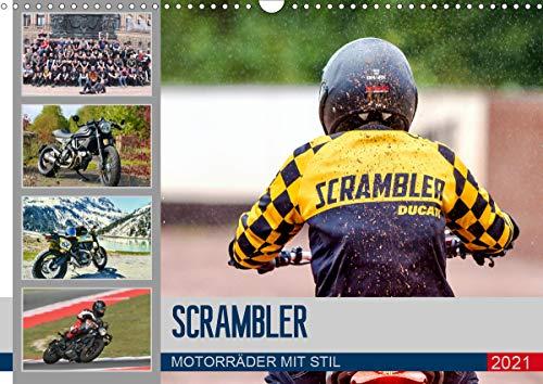 Scrambler Motorräder mit Stil (Wandkalender 2021 DIN A3 quer)