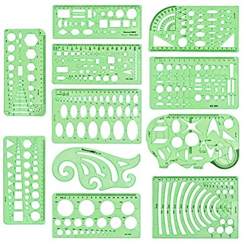 'N/A' 11 Piezas Reglas de Plástico,Plantillas de Dibujo Tecnico,Plástico Medida Regla,Herramienta de Molde de Dibujo de Geometría,para Oficina y Escuela, Edificio,Dibujo