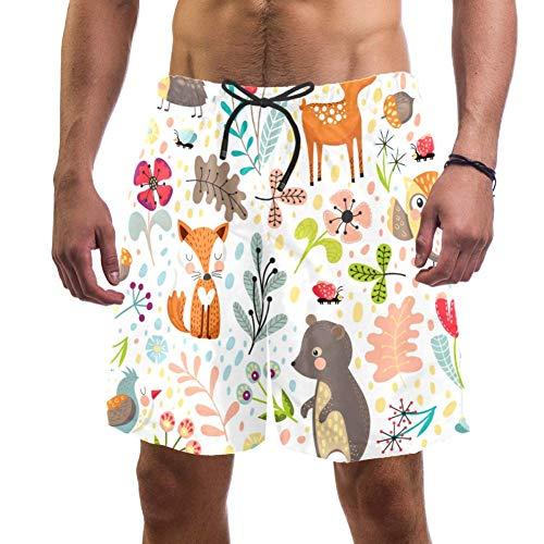 Short de plage pour homme, motif animal de la forêt, renard, ours et chouette, maillot de bain élastique pour homme, taille L - - S