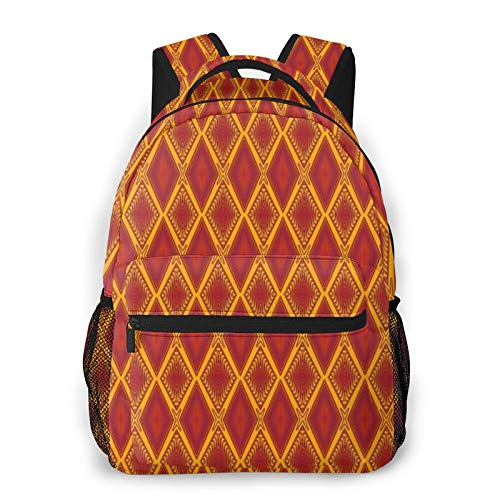 Red And Gold Decorative Diamond Harlequin Pattern Backpack Men'S And Women'S Daypack Casual Bookbag Girls And Boys Best Schoolbag