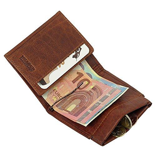 Sportliche Leder Dollarclip Herren Geldbörse Geldclip Geldbeutel mit Geldklammer Cognac