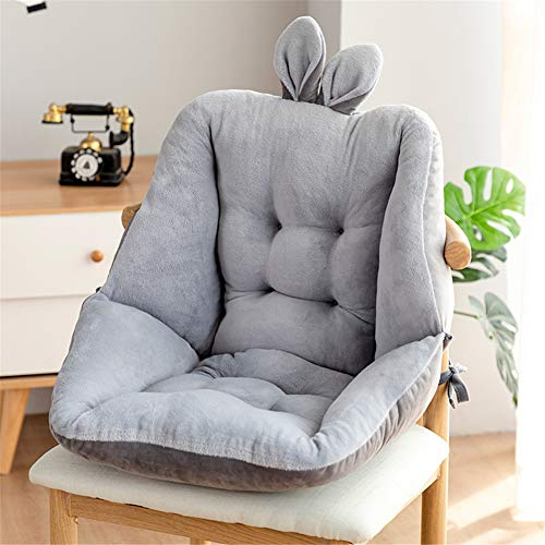 LZDA Semi-Enclosed One Seat Cushion Chair Desk Seat Pillow Warm Comfort Back Support Seat Pad Winter for Home (Grey)