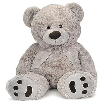 JOON Huge Teddy Bear with Ribbon Light Gray