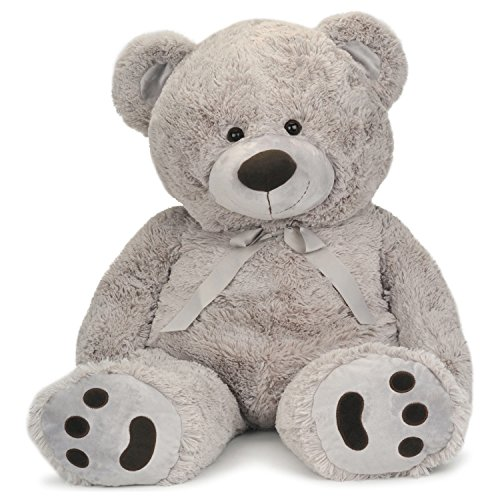 JOON Huge Teddy Bear with Ribbon, Light Gray