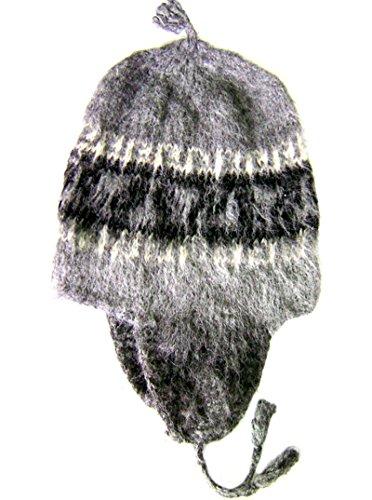 Gamboa Alpaka Lluchu Handmade Alpaka Hut Winter Cap,Grau,XL