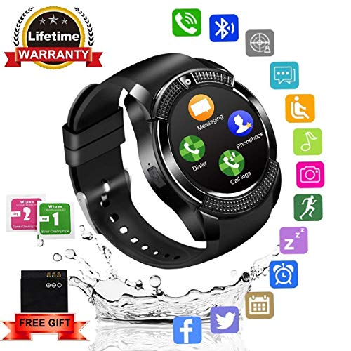 Smartwatch,Impermeable Reloj Inteligente Redondo con Sim Tarjeta Camara Whatsapp,BluetoothTactil Telefono Smart Watch Smartwatches para Android iOS iPhone Samsung Huawei Sony Hombre (Black)