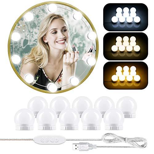 LED Spiegelleuchte, Hollywood Stil Schminklicht mit 10 Dimmbar Make Up Licht, ERACII Schminktisch Leuchte, 3 Farbmodi Schminkleuchte, Spiegellampe für Kosmetikspiegel, Schminktisch/Badzimmer Spiegel