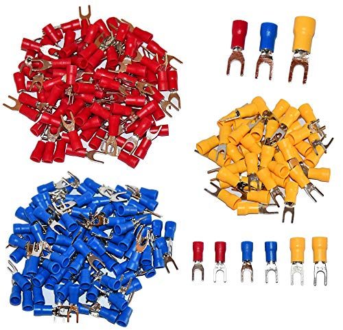 240 Pcs Insulated Fork Spade U-Type Wire Connector Electrical Crimp Terminal Red 18-22AWG 100Pcs Blue 14-16AWG 100Pcs Yellow 12-10 AWG 40Pcs