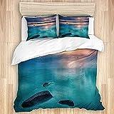 Juego de funda de edredón de algodón lavado, paisaje de rocas nubes en el lago Tahoe Sierra Nevada California USA Art, juego de cama suave de lujo (sin edredón)