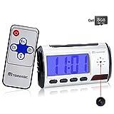TEKMAGIC 8GB Camara Espia Oculta Reloj Despertador Digital Camaras de Vigilancia para Casa con...