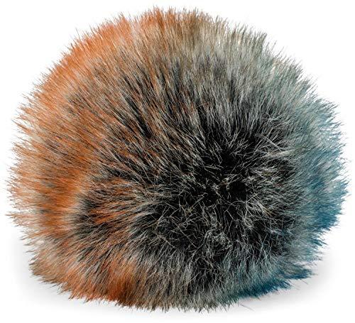 styleBREAKER Kunstfell Bommel für Mützen und Beanies, Fake Fur, Winter Fellbommel 04024161, Farbe:Orange-Blau