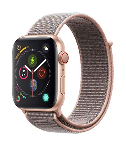 Apple Watch Series 4 (GPS + Cellular) cassa 44 mm in alluminio color oro e Sport Loop rosa sabbia