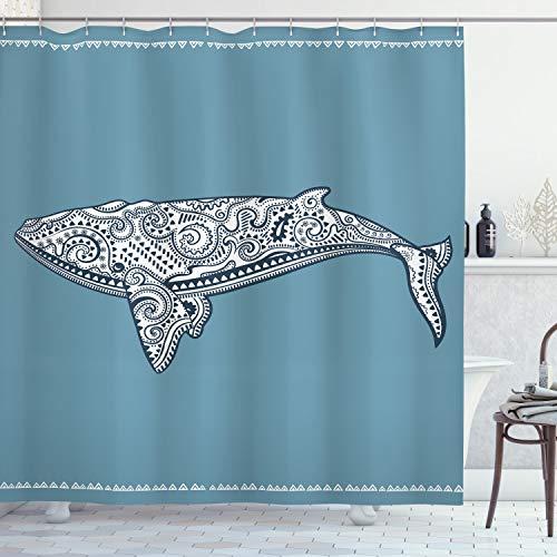 ABAKUHAUS Nautisch Duschvorhang, Ethnischer Embellish Wal, Digital auf Stoff Bedruckt inkl.12 Haken Farbfest Wasser Bakterie Resistent, 175 x 200 cm, Schieferblau & Weiß