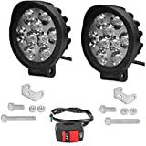 JDM ACCESSORIES Pair of 9 led Cap Fog with on Off Switch high Beam Headlight Universal for Bike car...