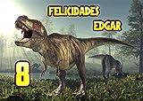 OBLEA de Dinosaurio T-Rex Personalizada con Nombre y Edad para Pastel o Tarta, Especial para cumpleaños, Medida Rectangular de 28x20cm