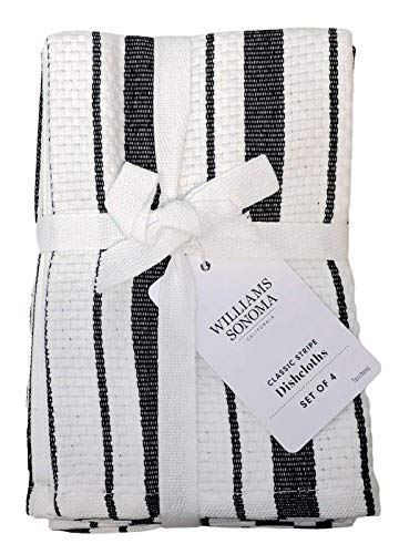 Williams-Sonoma Classic Striped Dishcloths, Dishrags, Jet Black (Set of 4)