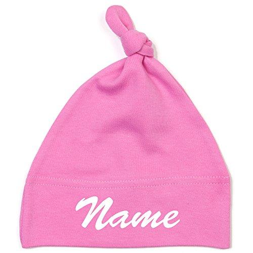 Schnoschi Babymütze in pink mit Namen hochwertig Bestickt/gestickt