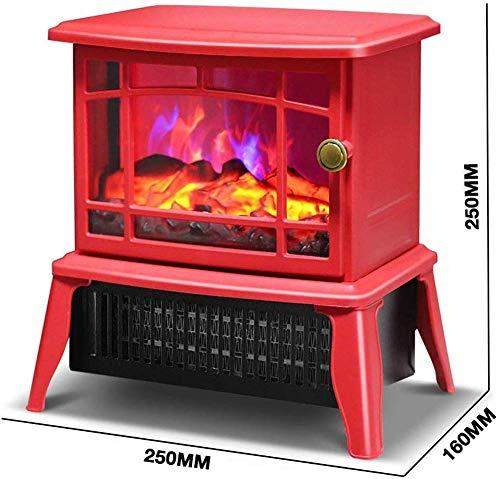 WI Elektroherd Elektrische Heizung Elektrischer Kamin Virtuelle Flamme Überhitzungsschutz Geräuscharm, für Schlafzimmer, Badezimmer und Büro, Weiß,rot
