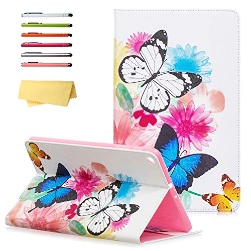 UUcovers Galaxy Tab A 10.1 inch 2019 Case SM-T510/T515/T517,Folio Stand Synthetic Leather Protective Wallet Cover with Card Pockets for Samsung Galaxy Tab A 10.1 Tablet 2019, Rainbow Butterfly Flower