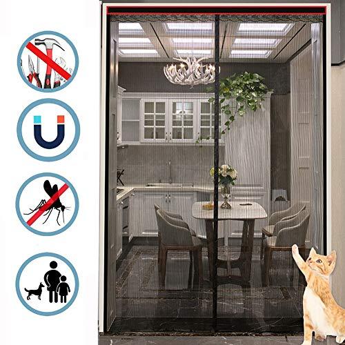 Nileco Vliegengaas, deur, schuifdeur, magnetisch scherm, met volledig frame, haak & fluizig mesh-gordijn, muur, vliegengaas, deur, terras balkondeur