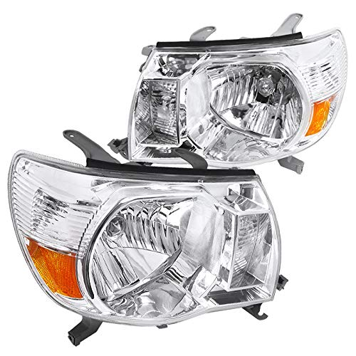 Spec-D Tuning Jdm Chrome Housing Clear Lens Headlights Lamps for 2005-2011 Toyota Tacoma Head Light Assembly Left + Right Pair