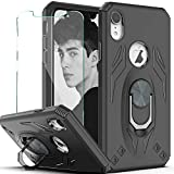 YmhxcY iPhone XR (6.1 inch) Case with HD Screen Protector, Military Grade Phone Case with Rotating Holder Kickstand for iPhone XR-TX Black