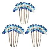 Lurrose - Peineta para el pelo (3 unidades, aleación de cinco dientes), diseño de hojas, color azul