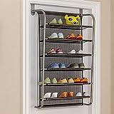 IBEQUEM Organizador de zapatos sobre la puerta para colgar zapatos, 6 niveles, gancho de metal para colgar en la parte superior de la puerta, color negro