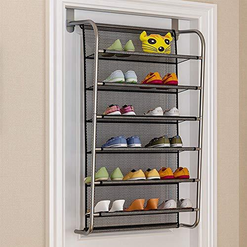 IBEQUEM Sotto la porta scarpiera da appendere alla porta, porta scarpe, 6 livelli, gancio in metallo per Closet Pantry Entryway (nero)