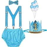 WELROG Traje de Cake Smash para niños - Tirantes en Y ajustables/Tirantes y pajarita Niñas (Blue Wave Point+Corona de oro)