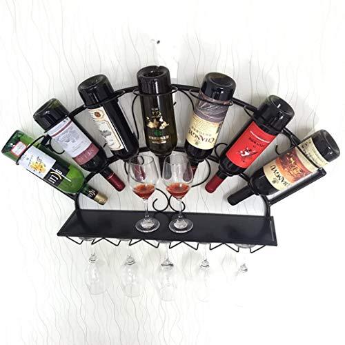 Weinregal Wand hängen Weinregal Einfache Moderne Weinregale Hängende Weinkühler Glashalter Wand - montierte Weinregal Weinglashalter Dekoregal Regal (Color : Black)