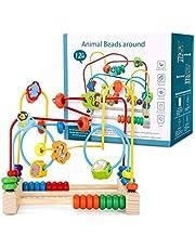 Ucradle Jeu Boulier, Jouet Bois Labyrinthe Jeux Montessori Circuit de Motricité Activité Cube Perle Labyrinthe Motif de Animal Jeu de Société Jouet Educatif Jouet Fille Garcon 3 4 5 Ans