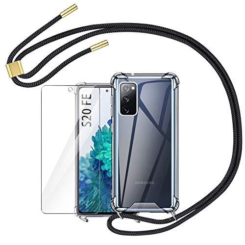 AROYI Funda con Cuerda Compatible con Samsung Galaxy S20 FE 4G 5G y Protector Pantalla, Carcasa Transparente TPU Silicona Case con Colgante Ajustable Collar Correa de Cuello Cordón, Negro