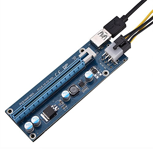 Richer-R PCI-E 16x Riser Adapter, Mini PCI-E zu PCI Express16x Extender Riser Adapter mit 6Pin SATA-Netzkabel,GPU Riser Adapter Karte für Multi-Grafikkarte Blau