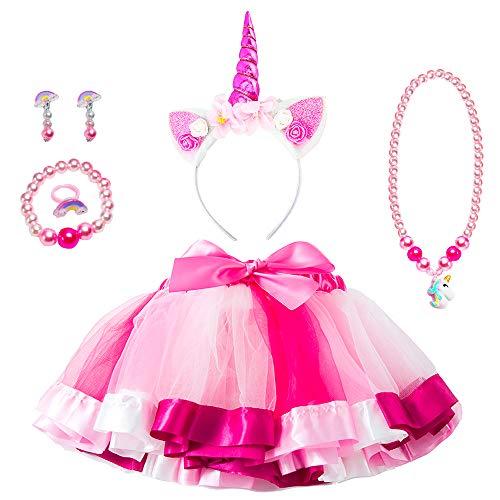MMTX Rosa Tutu Rock Kostüm Mädchen Einhorn Geschenk Set zum Einhorn Cosplay Party 6 Stück mit Einhorn Stirnband Halskette Armband Ring Ohrring 4-8 Jahre Mädchen Geburtstags Geschenk(Lange:28 cm)
