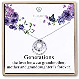CHICLOVE Collana di Generazioni - 3 Generazioni, 3 Cerchi circolari Collana di Nonna Cerchi ad Incastro, Regalo di Natale per la Nonna, Regalo della Nonna