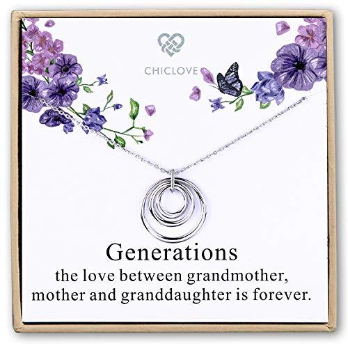 CHICLOVE Generationen Halskette für Oma Sterling Silber 3 Interlocking Infinity Kreise Mütter Tag Schmuck Geschenk