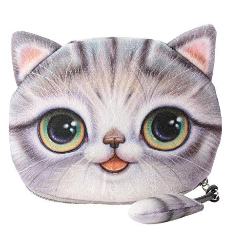 Flauschiger Geldbeutel Münzbörse Make-up- und Kosmetiktasche für junge Frauen und Mädchen Süßes Katzenmotiv Animal Print Katzenohren und Schwänzchen Reißverschluss (Grau)