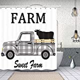 Rustic Black and White Plaids Farmhouse Cattle Truck Shower Curtain, Vintage Western Sweet Farm Animals Cow on Retro Pickup Truck Car Fabric Wooden Shower Curtain Bathroom Decorations, (48'WX70'H)
