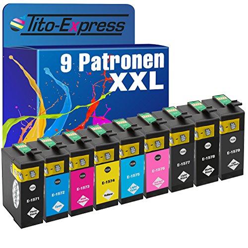 Tito-Express PlatinumSerie 9X Tinten-Patrone XXL TE1571-TE1579 kompatibel mit Epson Stylus Photo R3000