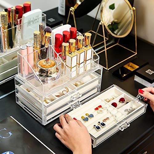 MUY Caja de Almacenamiento de cosméticos de Alta Gama Pendientes Joyas Caja de plástico de Almacenamiento Transparente Europa Cajón de Escritorio Organizador de Maquillaje acrílico