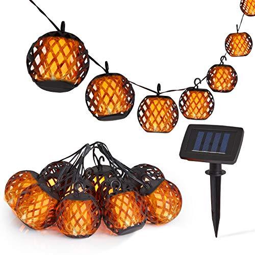 Deco Express Solar String Lights, Led Outdoor Lights for Garden with 10 Pcs Flickering Effect Flame Bulb, Festoon Fairy Lights, Outside Solar Powered Lighting for Patio, Gazebo, Pergola, Balcony