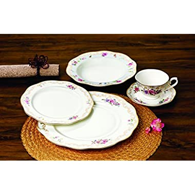 Royalty Porcelain  Ruby Rose  20-Piece White and Gold Floral Dinnerware Set, 24K Gold-Plated, Premium Bone China Porcelain, Service for 4