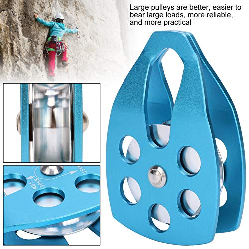VGEBY Outdoor Mountaineering Climbing Large Sideplate Single Sheave Aluminum Rope Pulley Single Bearing Pulley Plate