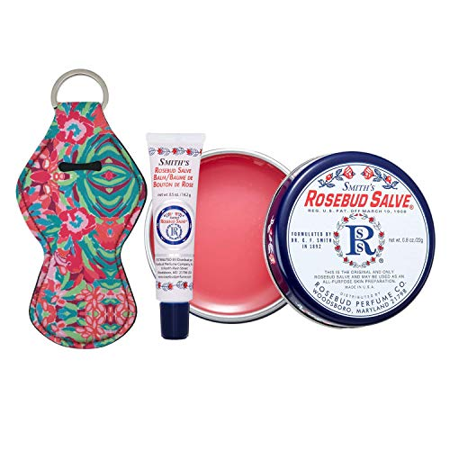 Smith's Rosebud Salve, Lip Balm and Lip Balm Holder Keychain Bundle - Natural Lip Care Moisturizer, All-Purpose and Case for Teens, Women and Men (Rosebud Salve)